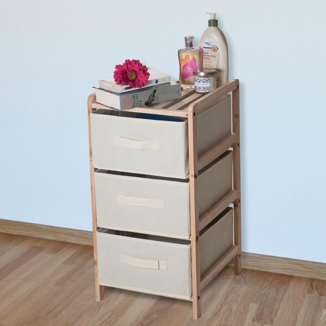 Lavish Home Organization Wood Fabric Three Drawer Unit with Shelf Top