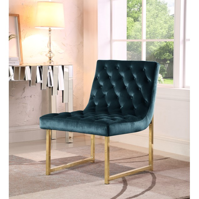 Chic Home Esfir Velvet Upholstery Plush Cushion Metal Frame Accent Chair