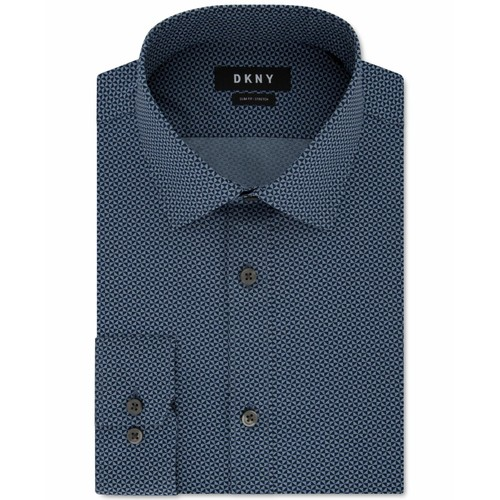 DKNY Men's Slim-Fit Textured Dress Shirt Blue Size 18x34-35