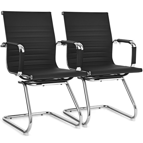 Costway Set of 2 Office Waiting Room Chairs for Reception Conference Area