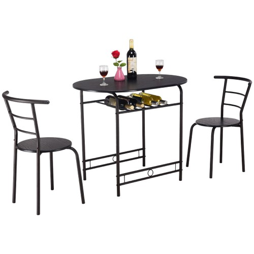 Costway 3 PCS Dining Set Table and 2 Chairs Home Kitchen Breakfast Bistro P