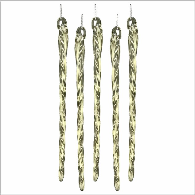 """Set Of 24 5.25"""" Glow In The Dark Spun Glass Icicle Ornaments"""