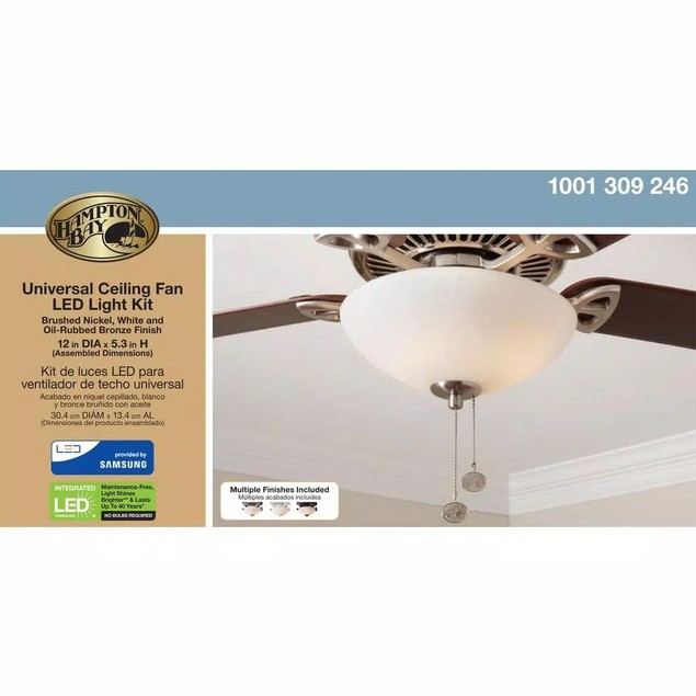 "Hampton Bay Universal 12"" LED Ceiling Fan Light Kit Rated for 30,000-Hours"