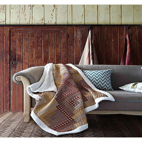 Spura Home Montana Cabin Red/Tan Patchwork Quilted Sherpa Throw