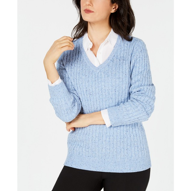 Karen Scott Women's Cable-Knit V-Neck Sweater Blue Size Extra Large