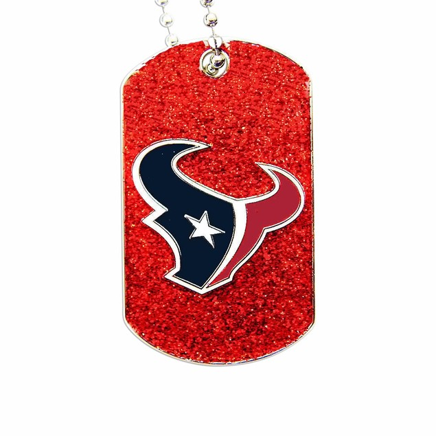 Houston Texans Dog Fan Tag Necklace Sparkle NFL