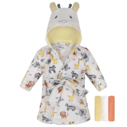 Modern Baby Bathrobe & 3 Washcloths For Infants & Newborns 0-9 Months