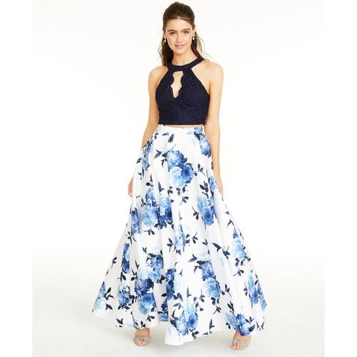 City Studios Juniors' Lace Top & Long Floral Skirt White Size 0
