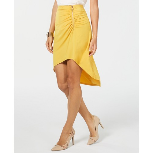 Thalia Sodi Women's Ruched High-Low Skirt  Darkyellow Size 2 Extra Large
