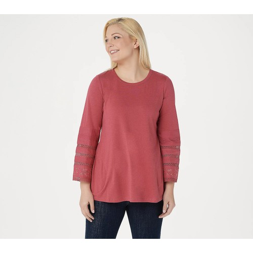 LOGO by Lori Goldstein Cotton Modal Embroidered Sleeve Top, 2X, Strawberry