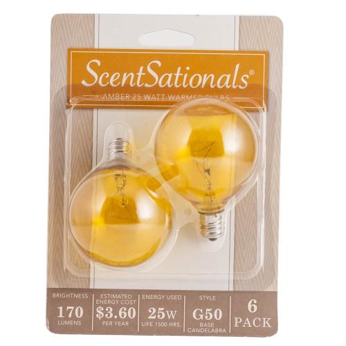 Scentsationals 25 Watt Replacement Light Bulb for Wax Warmer, Amber -6 Pack