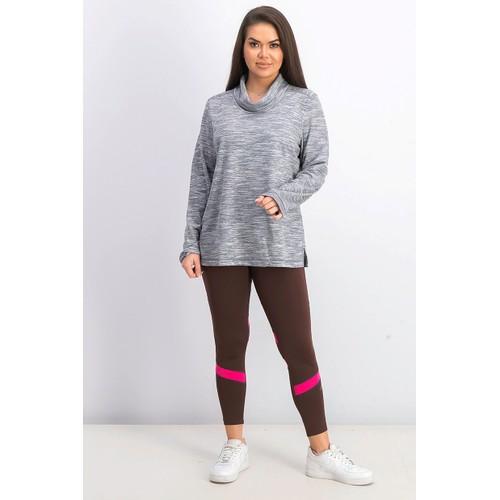 Karen Scott Women's Sport Space-Dyed Cowlneck Top  Gray Size Large