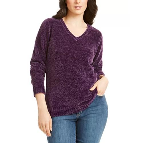 Karen Scott Women's V-Neck Chenille Sweater  Purple Size Large