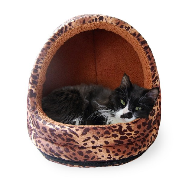 FurHaven Animal Print Hood Pet Bed