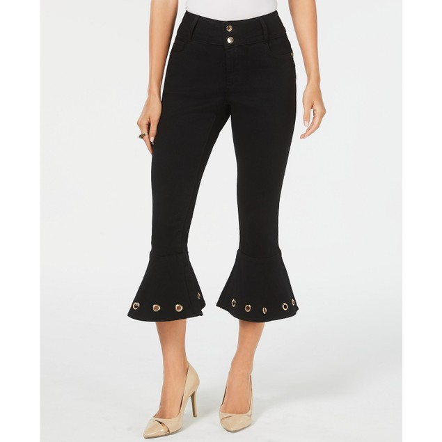 Thalia Sodi Women's Cropped Embellished Jeans Black Size 8