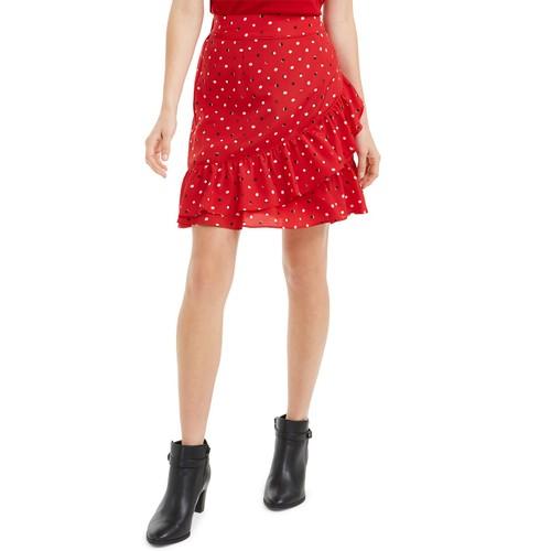 Maison Jules Women's Ruffled Pull-On Skirt Red Size Large