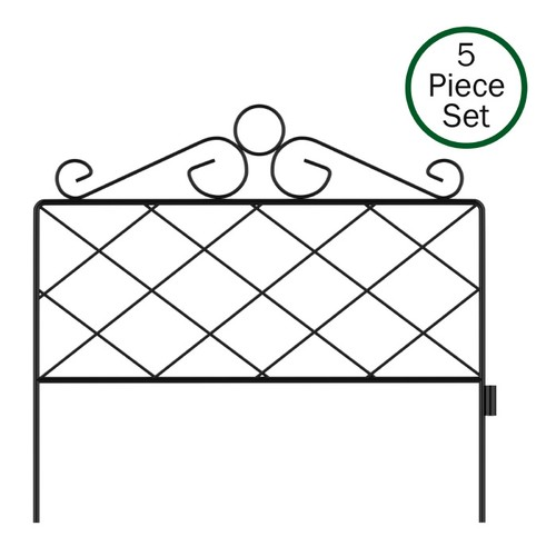 Metal Garden Fencing- Set of 5 Panels for Decorative Edging Flower Beds