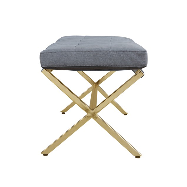 Chic Home Amancio Leather Tufted Seating Goldtone Metal Leg Bench