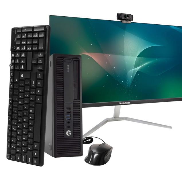 "HP 800G2 Desktop Intel i5 16GB 512GB SSD Windows 10 Professional 24"" Monito"