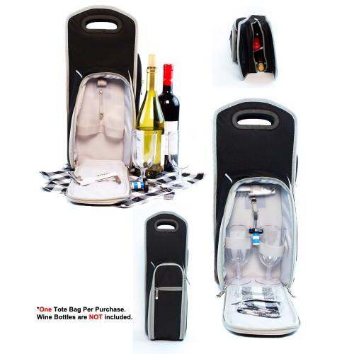 7 Pcs Wine Carrier Tote Bag - Insulated Wine Bottle Holder Set Black