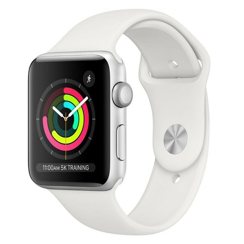 Apple Watch Series 3 38mm GPS Aluminum Silver Case with White Sport Band - MQKU2LL/A