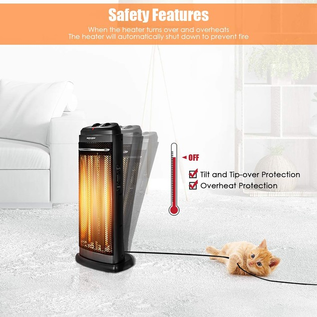 Infrared 600W/1200W Electric Radiant Tower Space Heater