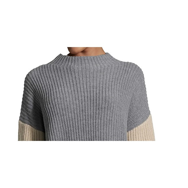 John Paul Richard Women's Colorblocked Sweater Charcoal Size Small