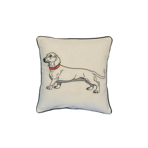 "Dacschund Dog Portrait Printed Design Novelty White Cotton Pillow 15""x15"""