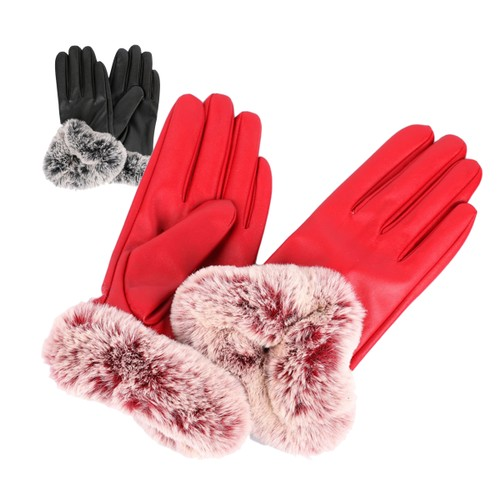 Ladies Warm Fuzzy Buttersoft Fashion Vintage Style Gloves in Vegan Leather