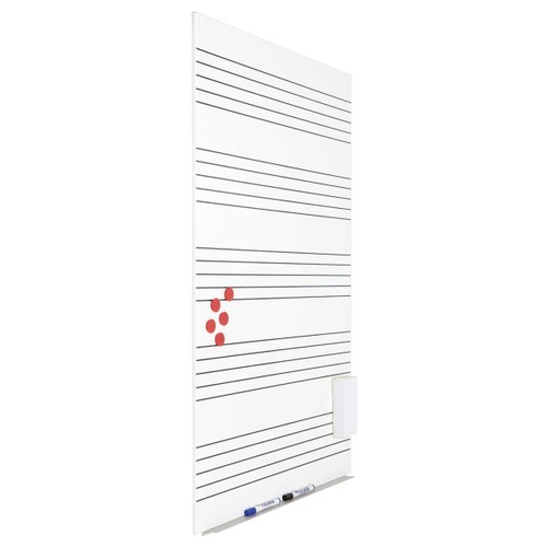 """Rocada Skin Magnetic Dry Erase Board 29.5"""" x 45.29"""" Music Lines - White"""