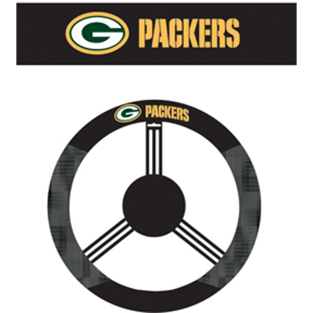 Green Bay Packers Steering Wheel Cover NFL Football Team Logo Poly Mesh