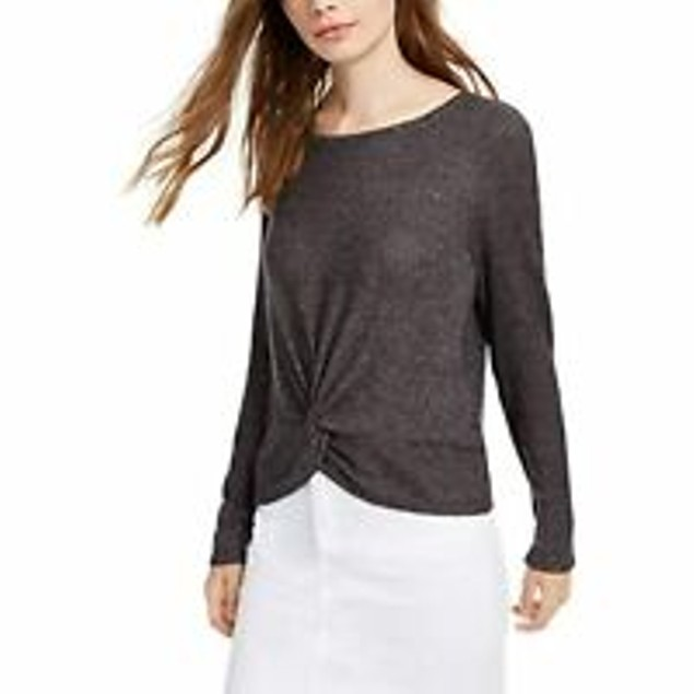 Hippie Rose Juniors' Cozy Ribbed Twist Front Top Black Size Large