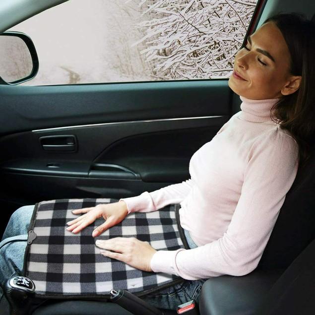 Zone Tech Car Electri Heated Travel Blanket Pad Fleece Black Buffalo Plaid