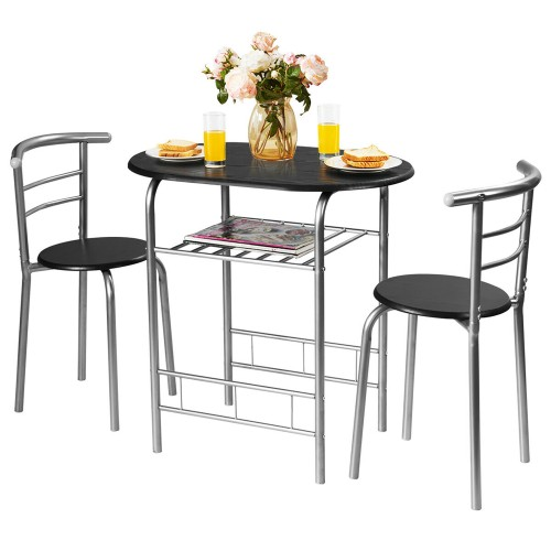 Costway 3 Pcs Dining Set 2 Chairs And Table Compact Bistro Pub Breakfast Ho