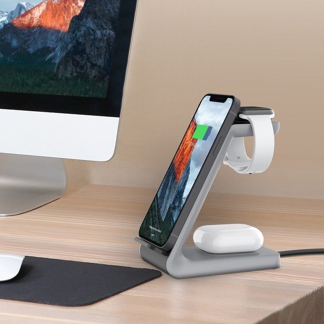 Aduro PowerUp Trinity Pro 3-in-1 Wireless Power Station for iPhone, iWatch & AirPods