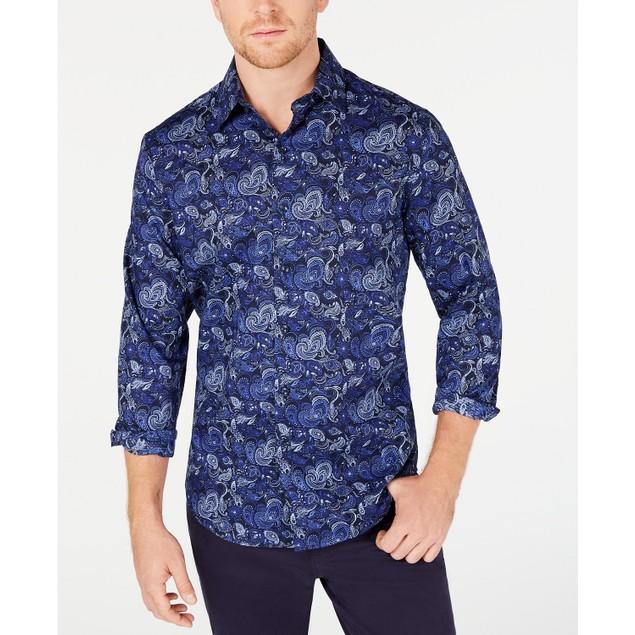 Tasso Elba Men's Stretch Asiago Paisley Print Shirt Navy Size Small