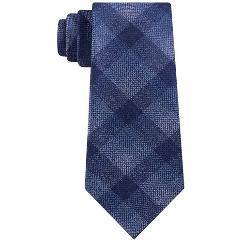 Michael Kors Men's Classic Pebble Gingham Check Tie Navy One Size