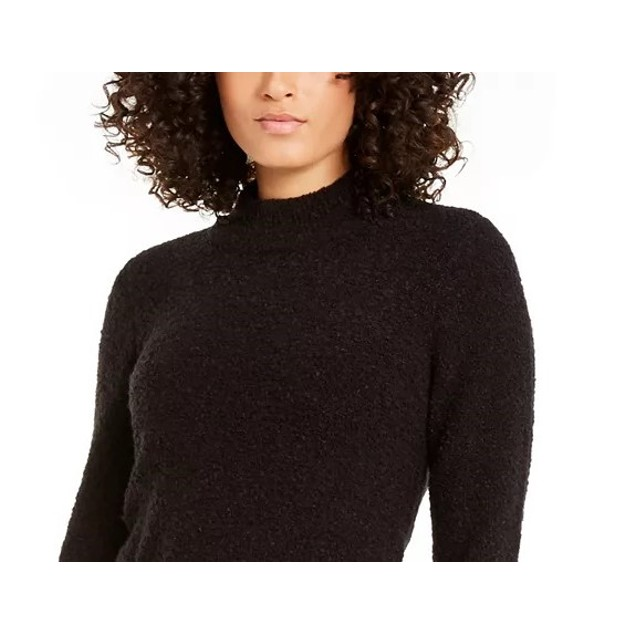 Alfani Women's Mock-Neck Boucle Sweater Black Size Small