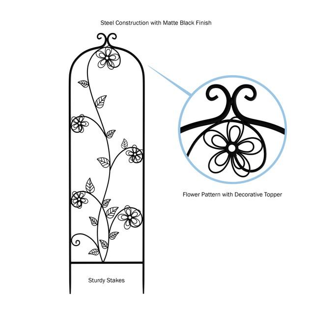Garden Trellis- For Climbing Plants- Decorative Curving Flower