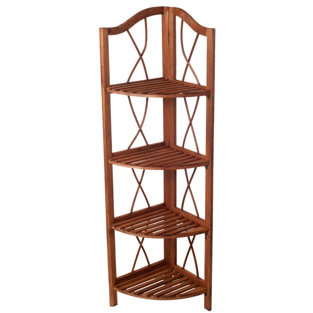 Lavish Home 4 Tier Wood Folding Corner Display Shelf