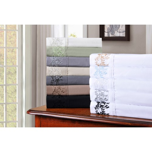 Embroidered FLORAL Duvet Cover Set With Pillow Shams, GIFT BOX