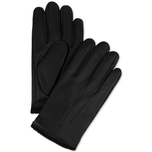 Calvin Klein Men's Triple Point Knit-Cuff Gloves Black Size Extra Large