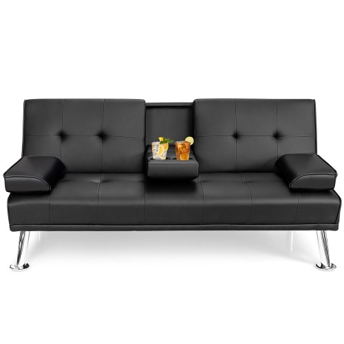 Costway Convertible Folding Leather Futon Sofa Bed w/Cup Holders