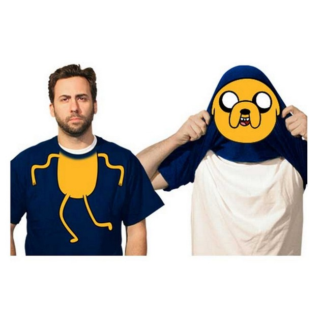 Jake Flip-Up Face Adventure Time Adult T-Shirt Reveal Finn