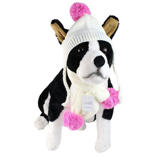 Midlee Small Cream & Pink Pom Pom Dog Hat & Scarf