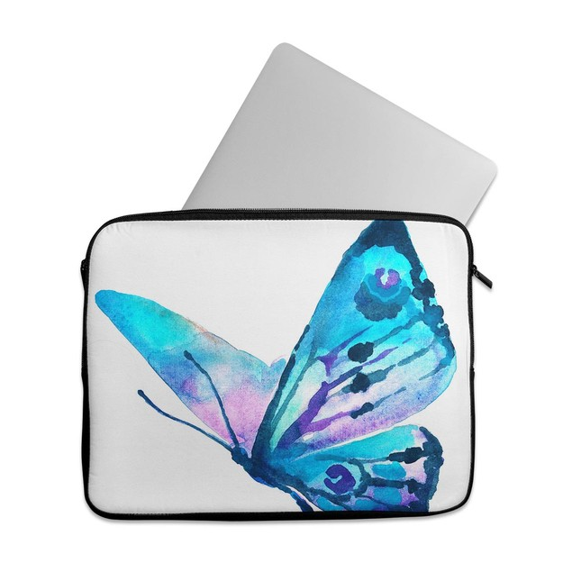 """EmbraceCase 15.6"""" Ink-Fuzed Laptop Sleeve - Bright Graceful Butterfly"""