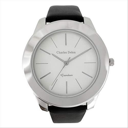 Charles Delon Men's Watches 5119 GPSB Black/Silver Leather Quartz Round Analog