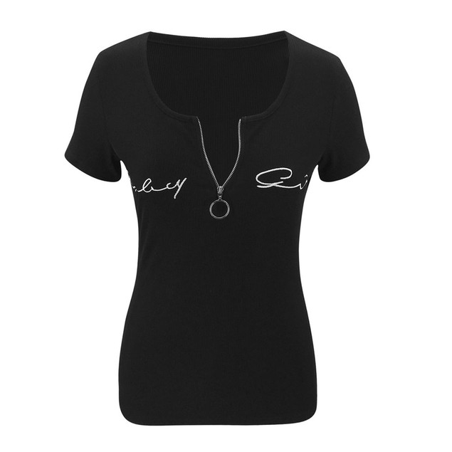 Women's V Neck Short Sleeve Embroidery Top
