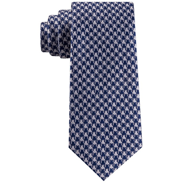 Sean John Men's Classic Etched Houndstooth Silk Tie Navy Size Regular