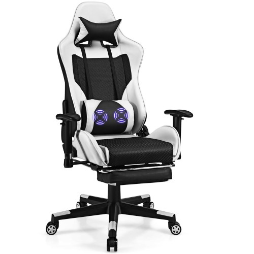 Costway Massage Gaming Chair Reclining Racing Office Computer Chair with Fo